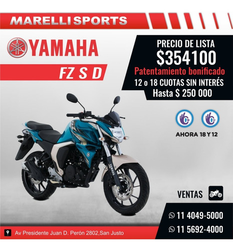 Yamaha Fz S D, 12 Y 18 S/interes Patentada, Marelli Sports
