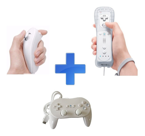 Kit Para Wii - Remote + Nunchuk + Controller Pro (classic)