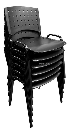 Silla Apilable Plástica Fija Oficina Iglesia Sala De Espera Acero Reforzado Pintura Negra C/garantoa Fabrica