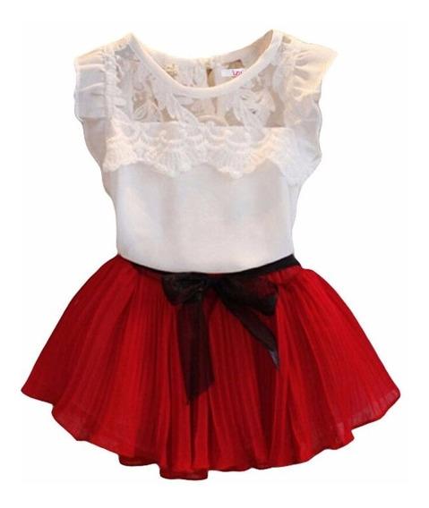 Conjunto Infantil Menina Saia Vermelha E Blusinha Com Renda