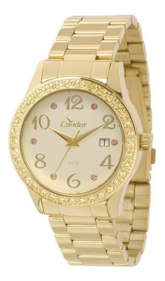 Relógio Feminino Strass Condor Dourado Co2115tu/4x