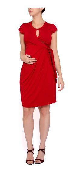 Vestido Gestante Envelope Vermelho