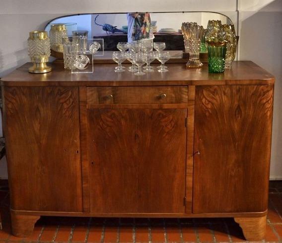 Bahiut Art Decó Antiguo Lustrado Espejo Biselado