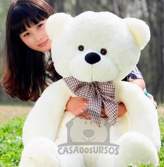 Urso De Pelúcia Branco 140cm 1,4m + Enchimento Frete Grátis