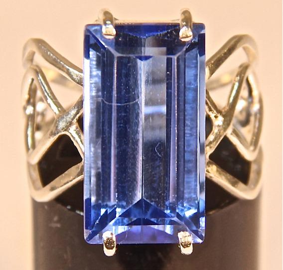 Rsp J4807 Anel Nefertiti Prata 950 Tanzanita Azul