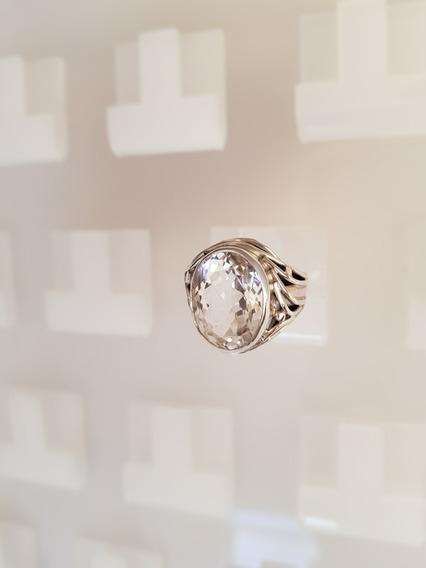 Anel Prata 950 Pedra Cristal De Rocha Quartzo 10,0 Quilates!