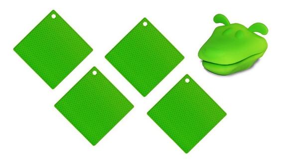 Kit Descanso De Panela 4 Unidades E 1 Luva Em Silicone