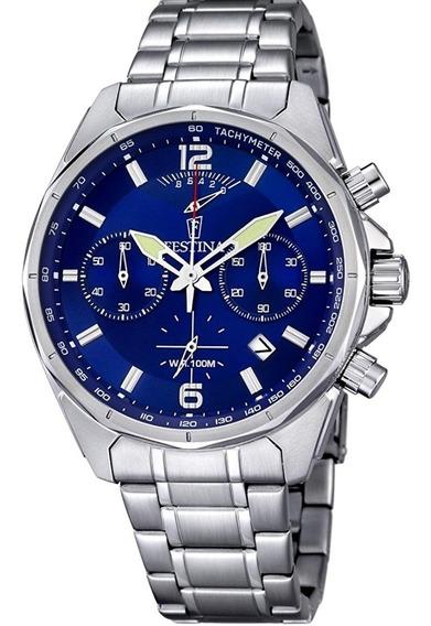 Relógio Festina F6835/3 Conograf 44mm Fundo Azul