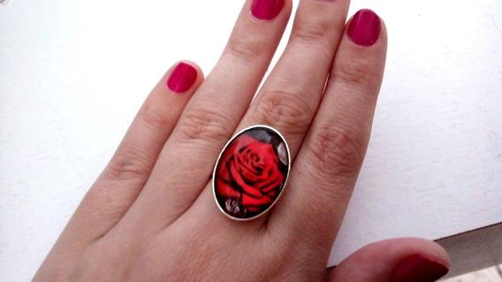 Anel Ajustavel Rosa Vermelha Lua Gótica Dark Vintage