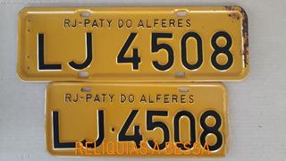 Par Placa Amarela Antiga Original Carro Sem Uso Lj4508 Rj