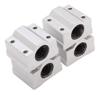 Kit 4 Pillow Block 12mm Com Rolamento P/ Eixo Linear Sc12uu