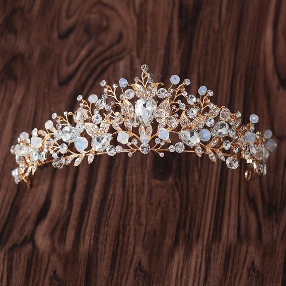 Tiara Dourada Coroa Flores Perolas Princesa Strass Casamento