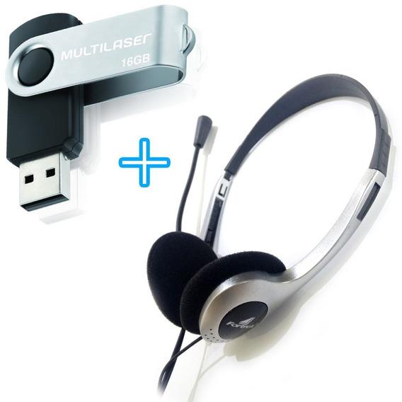 Kit Pen Drive Original 16 Gigas + Fone Com Microfone Headset