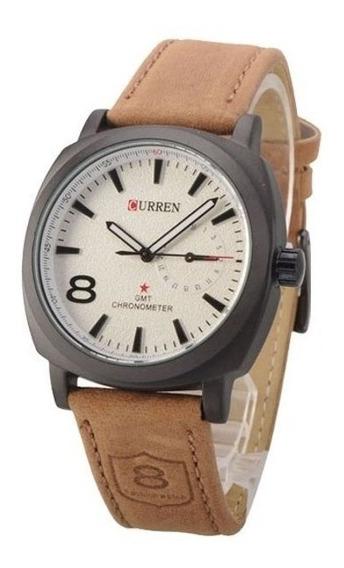 Relógio Curren Militar Masculino Pulseira Couro Marron 8139