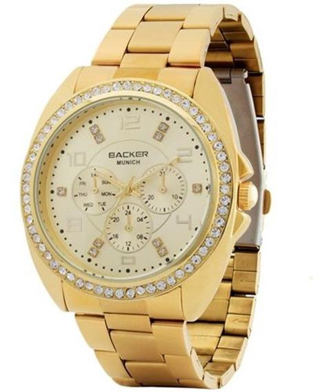 Relógio Backer Feminino Dourado Cristais Aço 3419545f Ch