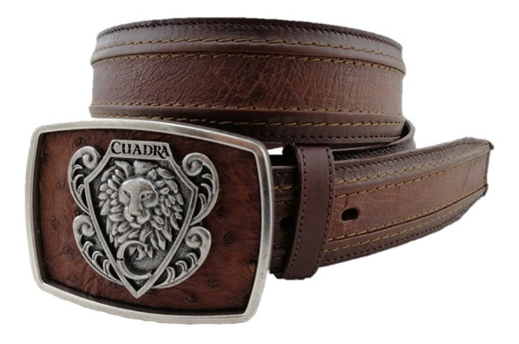 Cinturón Para Hombre Marca Cuadra Color Moroni Castaño Hecho De Piel De Panza De Avestruz