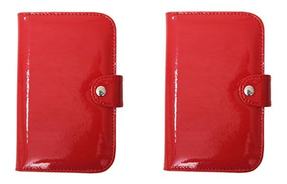 2 Billeteras Mujer Porta Celular Matriona Pocket Charol Rojo