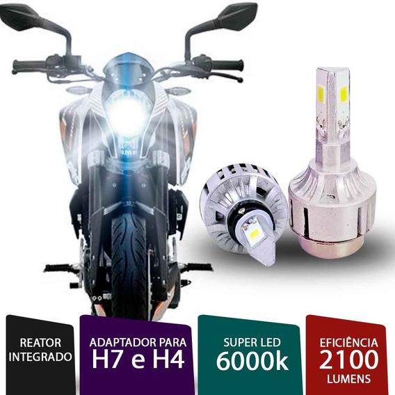 Lâmpada Super Led 3d H4 / H7 6000k Para Moto Cg 125 Fan Es
