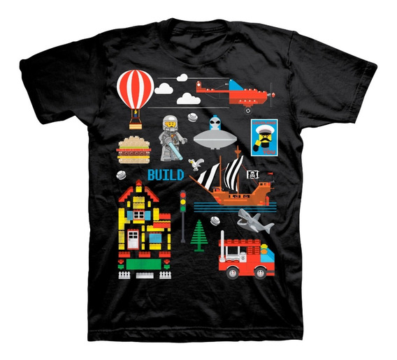 Playera Para Niño Lego Color Negro Estampado De Lego Land