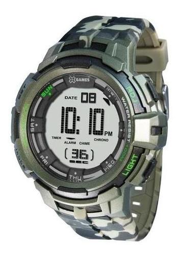 Relógio X-games Xmppd386 Bxef Masculino Camuflado Verde