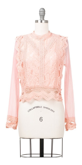 Blusa Corta De Crochet Con Transparencias, Fresca, Sexy.