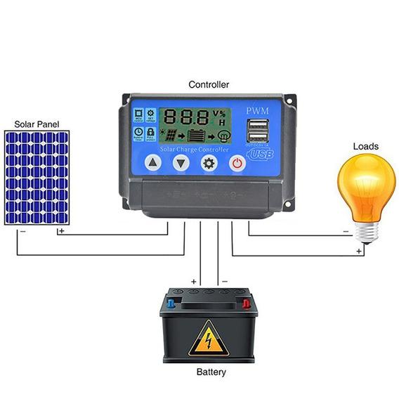 Controlador 50a Carga Solar Auto Pwm 12v 24v