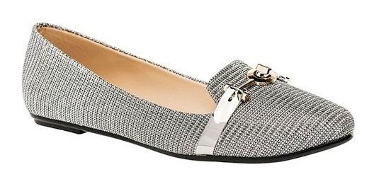 Zapato Flats Dama Gris/plata Tallas 22-26 Envio Gratis