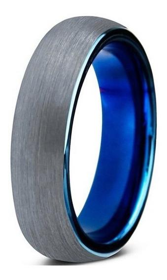 Aliança De Tungstenio Tradicional Escovada Prata Azul 6mm Rá