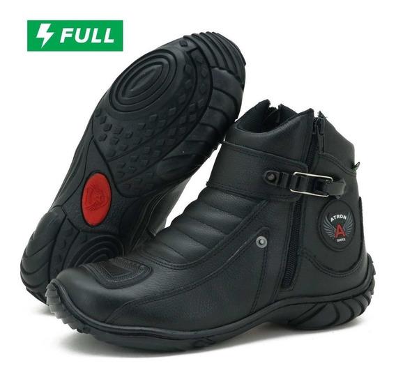 Coturno Motociclista Couro Atron Shoes 271 Preto