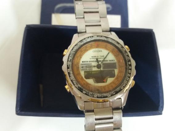 Relógio Antigo Citizen C080 World Time Leia A Descrição!!!!!