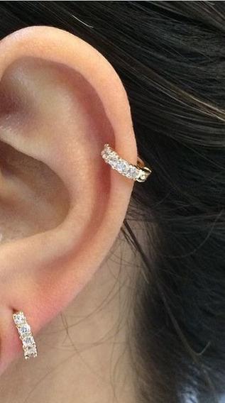 Argolinha Piercing Cartilagem Orelha 6mm Dourado Folheado