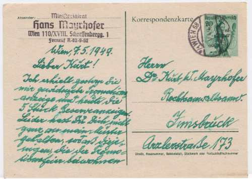Austria 1949 Interesante Entero Postal Viena