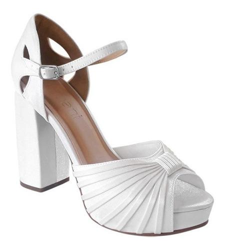 Sandalia De Noiva Branca Meia Pata Salto Alto Grosso Duani