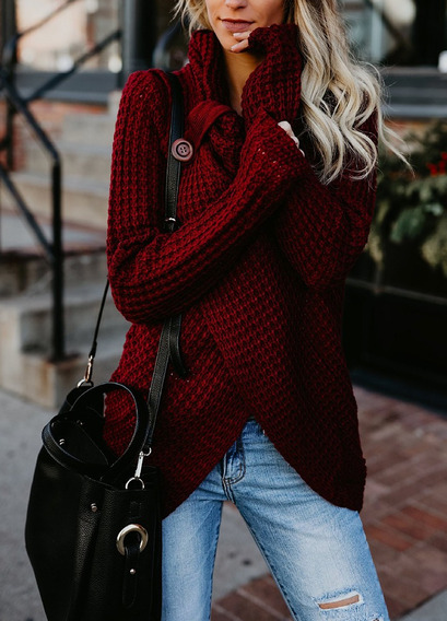 Women Split Crew Neck Sweater