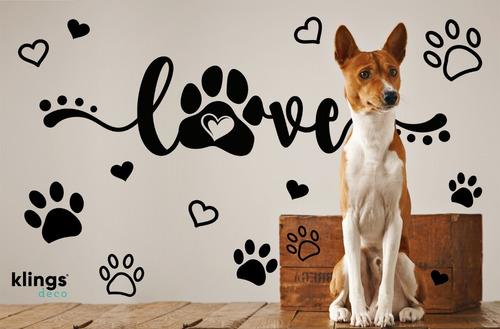 Vinilos Decorativos Love Mascotas Perro Gato Huellitas