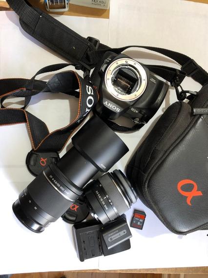 Câmera Sony Alpha A230 18-55 +55-200 Bolsa Sd-ultra Completa