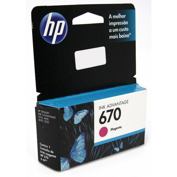 Cartucho De Tinta - Hp 670 Ink Advantage - Magenta - Cz115ab