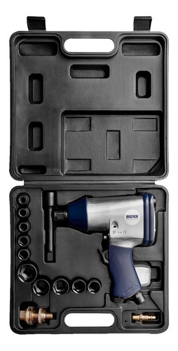 Imagen 1 de 8 de Llave Pistola Impacto Neumática Enc. 1/2 Kit 17 Pcs Bremen