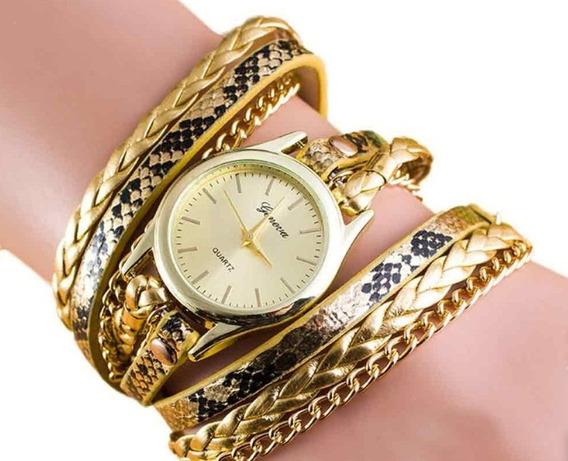 Relógio Feminino Bracelete Pulseira Em Couro Degradê Dourado