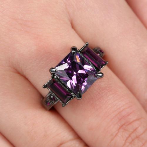 Anillo Piedra Purpura Enchapado Princesa Circon Matrimonio