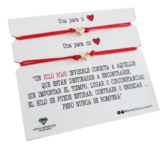 Pulseras Pareja Hilo Rojo Dije Corazon Novios Aniversario