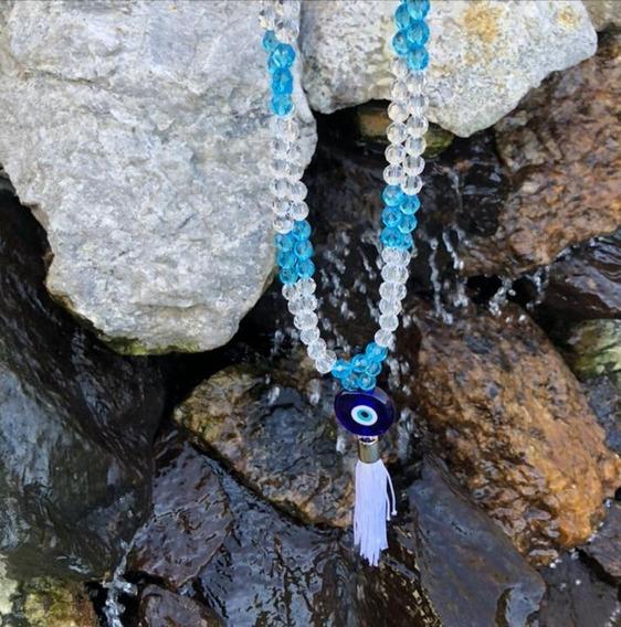 Japamala 108 Contas De Cristal Azul Olho Grego Hooponopono