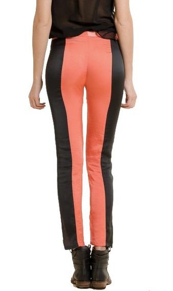 Pantalon Seda Coral Y Negro. Nuevo