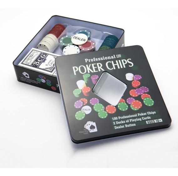 Jogo De Ficha Poker 100 Fichas Plastico E 2 Baralhos Na Lata
