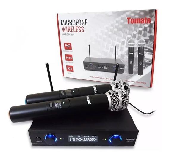 Microfone Duplo Sem Fio Profissional Uhf Digital 60m Bivolt