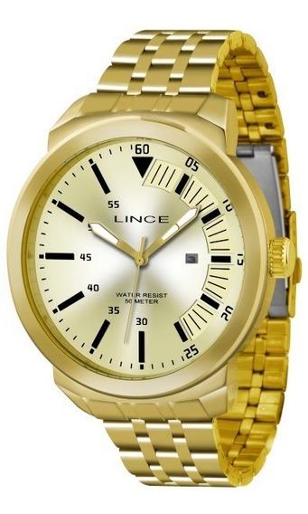 Relógio Lince Masculino Dourado Fundo Dourad 32969