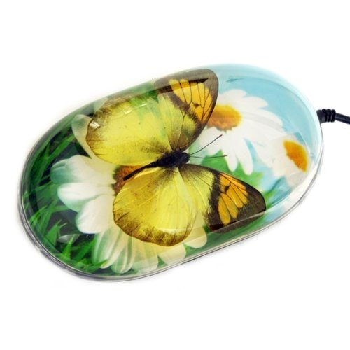 Mariposa Ratón De La Computadora Con Fondo De Flores