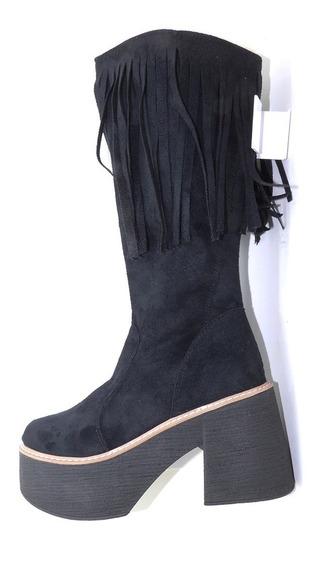 Bota Bucanera Gamuza Plataforma Negra Flecos Mujer 35-40