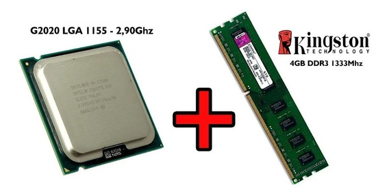 Intel G2020 Core2duo 1155 2,9ghz + Memória Ddr3 4gb Kingston