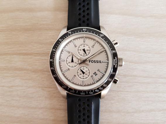 Relógio Fossil Prata (bq2068) - Pulseira Preta De Silicone